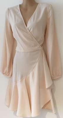 MISS SELFRIDGE BLUSH CHIFFON CROSS OVER LONG SLEEVE DRESS 8 10 12 14 16